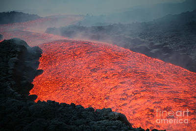 Lava Flow During Eruption Of Mount Etna Print by Richard Roscoe