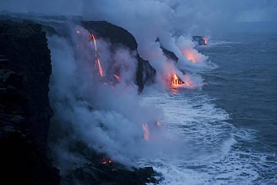 Twilight Views Photograph - Lava Flowing Into The Pacific Ocean by Stephen Alvarez