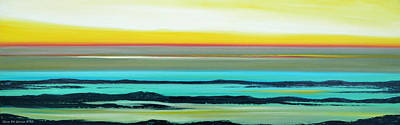 Lava Rocks Panoramic Sunset In Yellow And Blue Print by Gina De Gorna