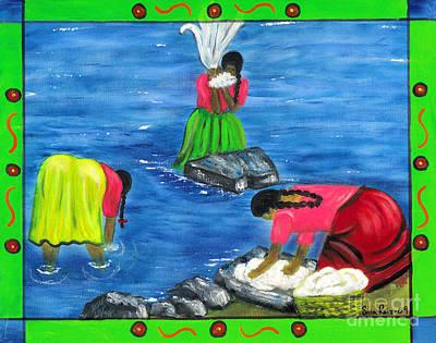 Oaxacan Painting - Lavando by Sonia Flores Ruiz