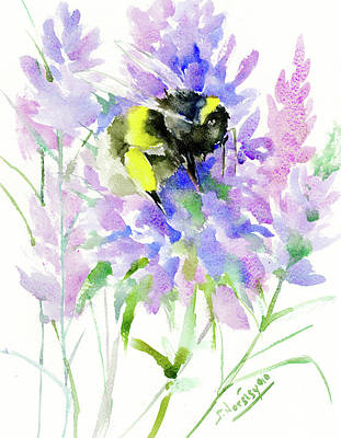 Bumblebee Drawing - Lavender And Bumblebee by Suren Nersisyan