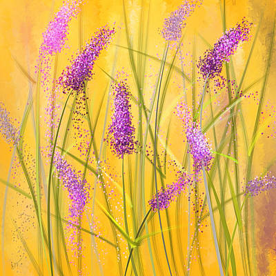 Lavender Beauties Print by Lourry Legarde