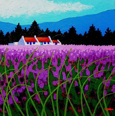 Christmas Greeting Painting - Lavender Field - County Wicklow - Ireland by John  Nolan