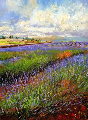 Oil Landscape Painting - Lavender Field by David Stribbling