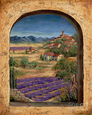 Lavender Fields And Village Of Provence Print by Marilyn Dunlap