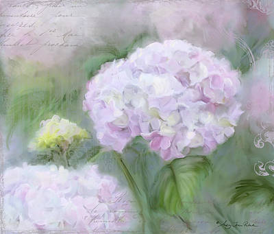 Handwriting Mixed Media - Lavender Hydrangea Romantic Garden by Audrey Jeanne Roberts