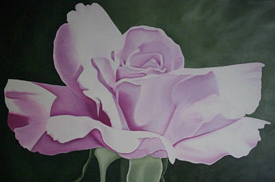 Bloom Painting - Lavender Pink Rose Painting Flower Painting Floral Art Print by Sally Holt