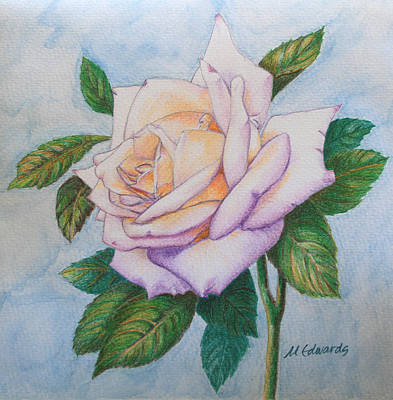 Thinking Of You Drawing - Lavender Rose by Marna Edwards Flavell