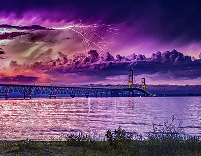Lightning Bolt Photograph - Lavender Storm Over The Mighty Mac by J Thomas