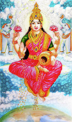 Veena Painting - Laxmi The Goddess Of Wealth by Arun Sivaprasad