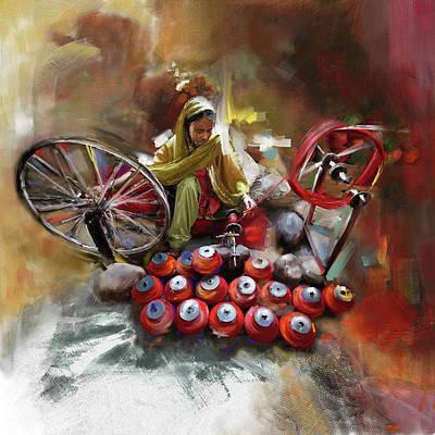 Punjab Painting - Layallpur Woman  by Mawra Tahreem