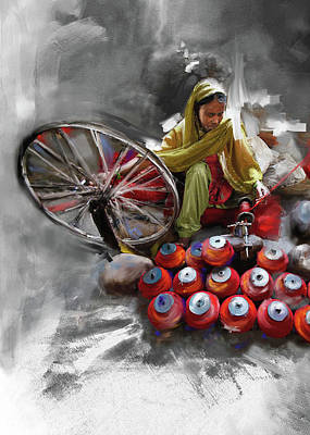 Punjab Painting - Layalpur Woman 191 3 by Mawra Tahreem