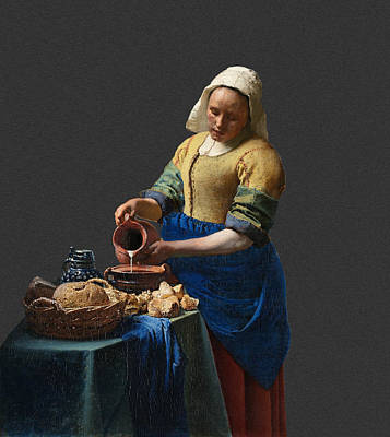 Table Cloth Digital Art - Layered 16 Vermeer by David Bridburg