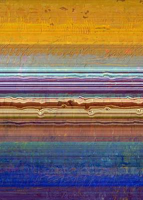 Abstract Beach Landscape Painting - Layers With Orange And Blue by Michelle Calkins