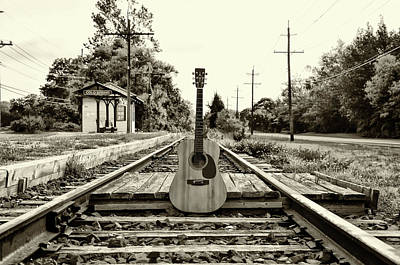 Digital Art - Laying Down Some Tracks In Black And White by Bill Cannon