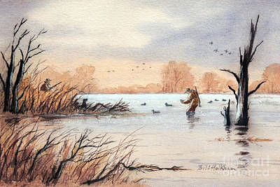 Laying Out The Decoys I Print by Bill Holkham