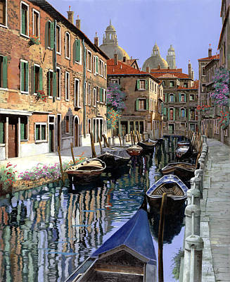 Water Reflections Painting - Le Barche Sul Canale by Guido Borelli
