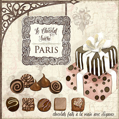 Painted Mixed Media - Le Chocolat Sucre Paris - Sweet Chocolate Paris by Audrey Jeanne Roberts