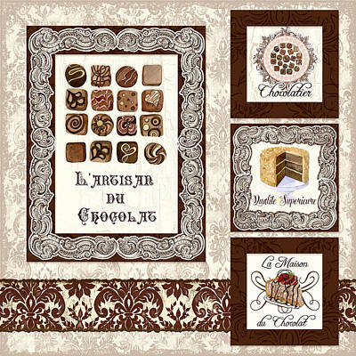 Painted Mixed Media - Le Chocolatier - L Artisan Du Chocolat by Audrey Jeanne Roberts