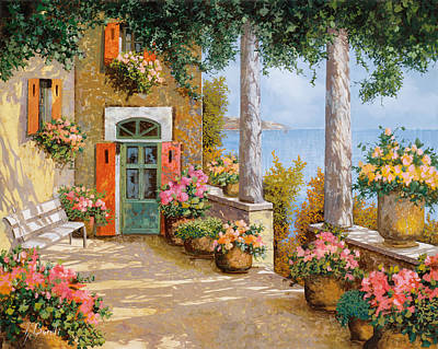 Spring Flowers Painting - Le Colonne Sulla Terrazza by Guido Borelli