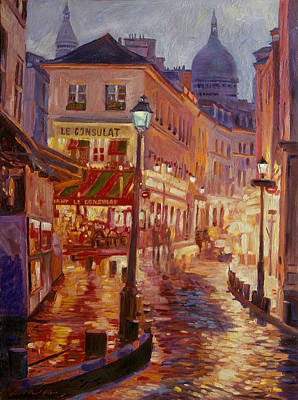Night Scenes Painting - Le Consulate Montmartre by David Lloyd Glover