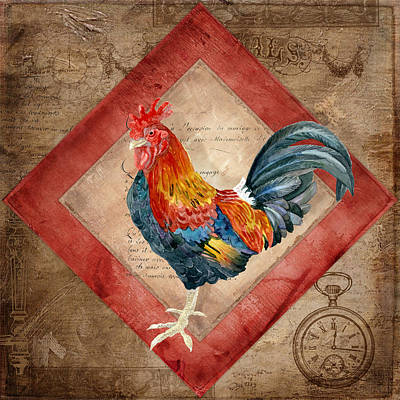 Rooster Mixed Media - Le Coq - Timeless Rooster  by Audrey Jeanne Roberts