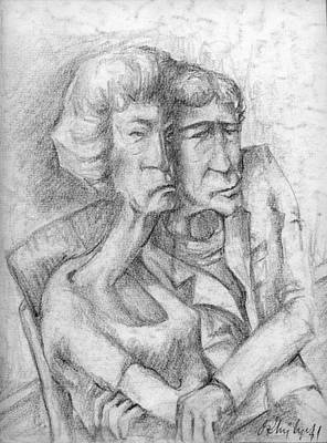 Abstract Expressionism Drawing - Le Couple by Taylan Soyturk