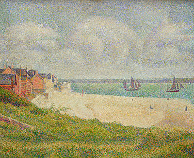 Le Crotoy Looking Upstream Print by Georges Pierre Seurat