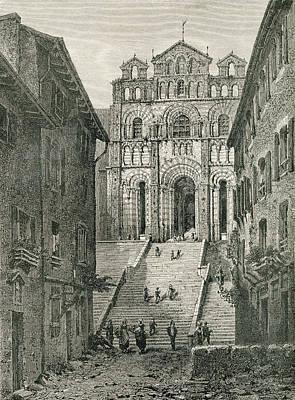 Notre Dame Drawing - Le Puy Cathedral, Le Puy-en-velay by Vintage Design Pics