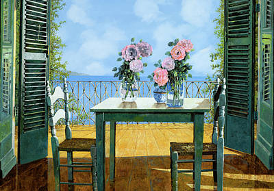 Blue Table Painting - Le Rose E Il Balcone by Guido Borelli