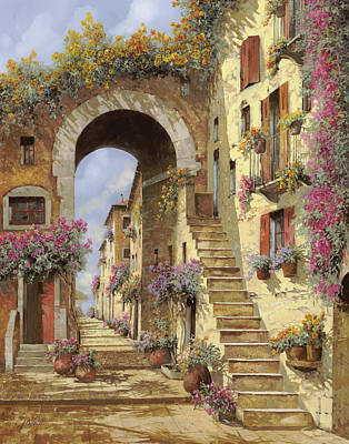Old Village Painting - Le Scale E Un Arco by Guido Borelli