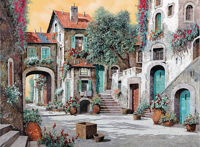 Courtyard Painting - Le Scale Tra Le Case by Guido Borelli