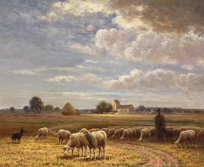 Lambing Painting - Le Troupeau by Paul Chaigneau