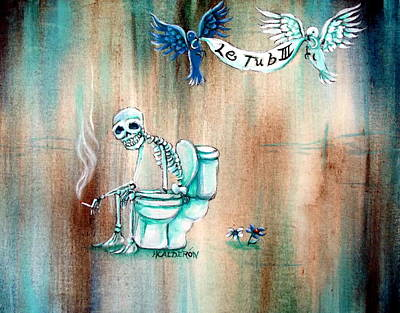Skeleton Painting - Le Tub IIi by Heather Calderon