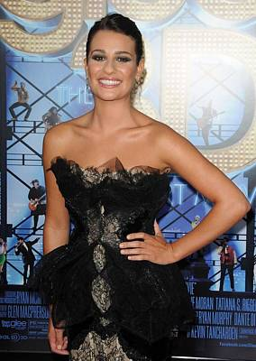 Black Lace Photograph - Lea Michele Wearing A Marchesa Dress by Everett