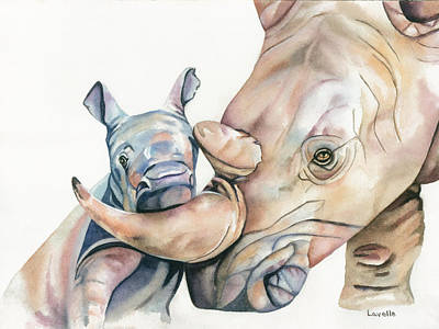 White Rhino Painting - Lean On Me by Kimberly Lavelle