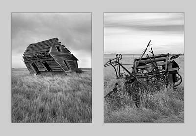 Old Cabins Photograph - Leaning Diptych by Leland D Howard