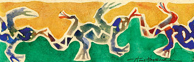 Lino Painting - Leaping Lizards by Annie Alexander