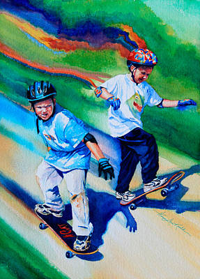 Sports Art For Children Painting - Leaping Lizards by Hanne Lore Koehler