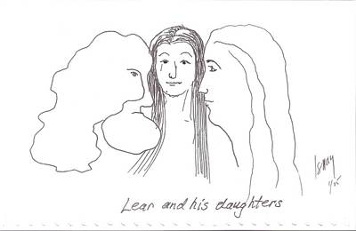 Rod Ismay Drawing - Lear And His Daughters by Rod Ismay