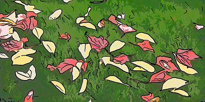 Natural Painting - Leave On Lawn by Lanjee Chee