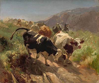 Rudolf Koller Painting - Leaving The Mountains by Rudolf Koller