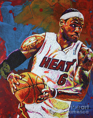 Lebron James 3 Print by Maria Arango