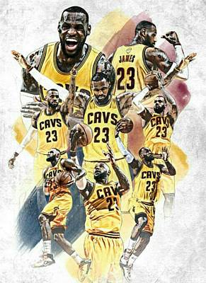 Lebron James Collage Print by Pete Lacy
