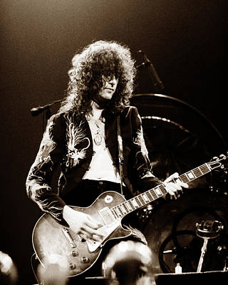 Concert Photograph - Led Zeppelin - Jimmy Page 1975 by Chris Walter