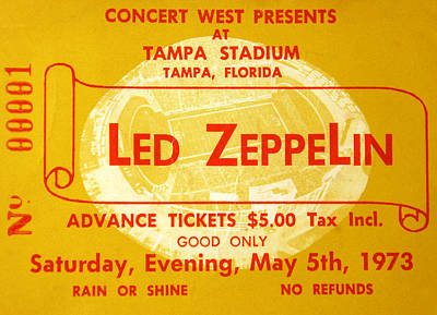Led Zeppelin Photograph - Led Zeppelin Ticket by David Lee Thompson