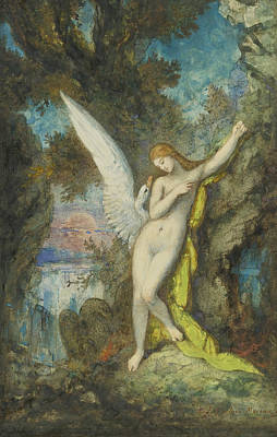 Zeus Painting - Leda And The Swan by Gustave Moreau