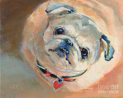 Pug Painting - Leeloo's New Collar by Kimberly Santini