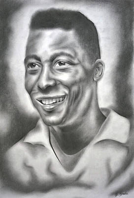 Pele Drawing - Legend by Bogdan Bradu