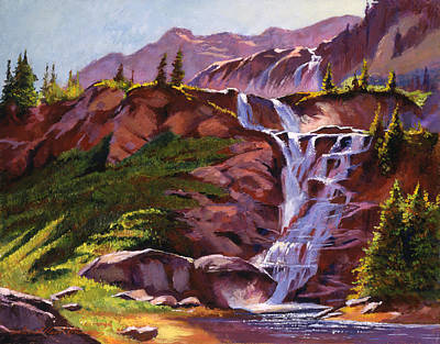 High Sierra Painting - Legend Falls by David Lloyd Glover